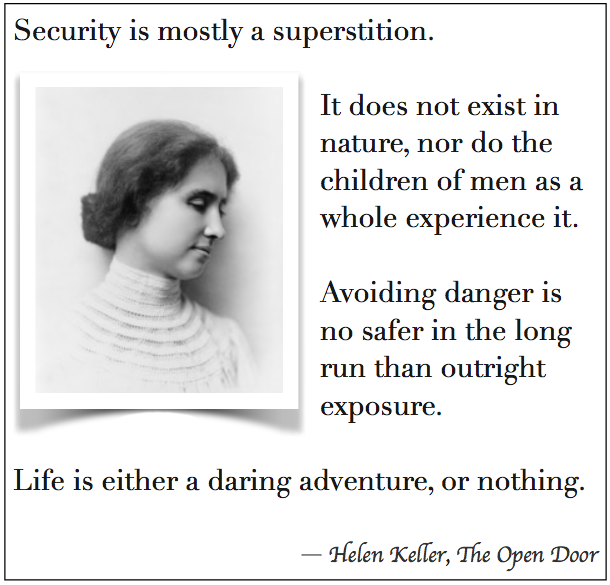 Helen Keller quote about challenge