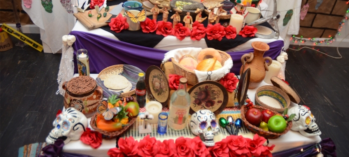A student altar at East Los Angeles College's Vincent Price Museum, which features Mexican-American and Mayan art.