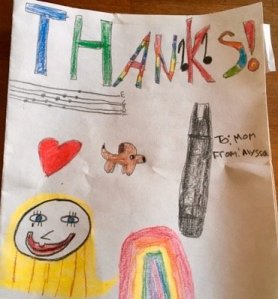child's thank you card drawing