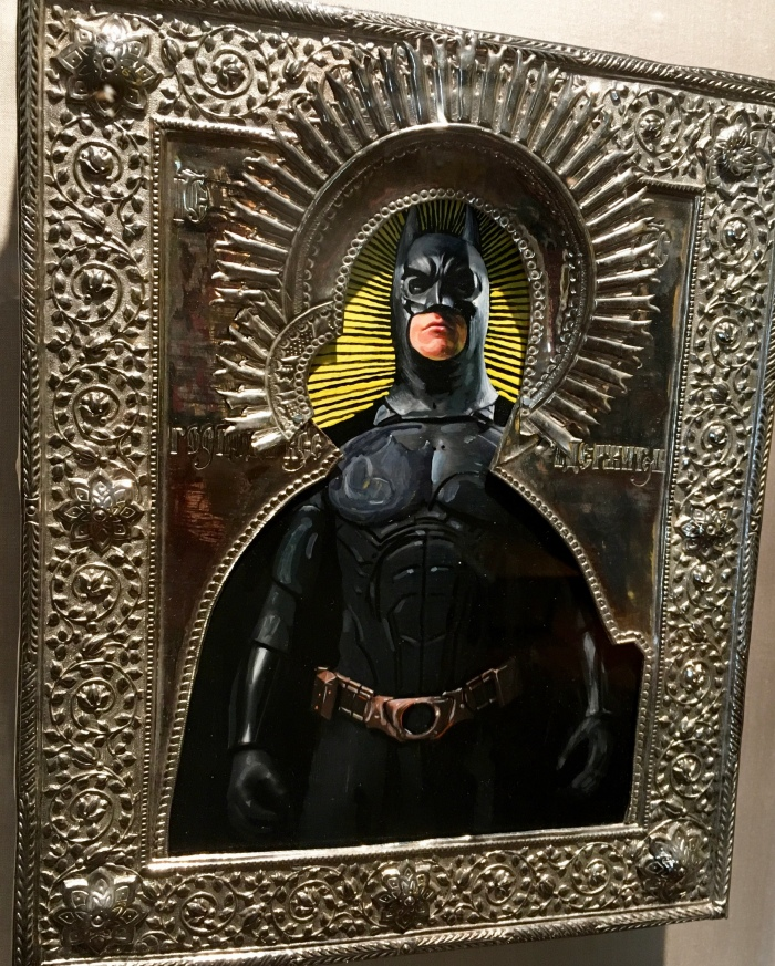 Artist Valentin Popov, St. Batman, 2016. Oil on wood block, silver plating.