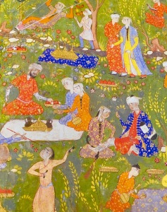 Persian 'miniature' style painting of picnickers.
