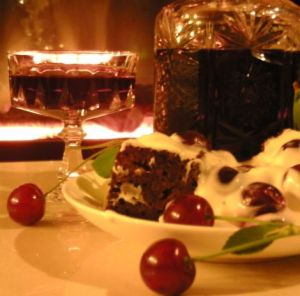 Fruit wine and deserts on a table