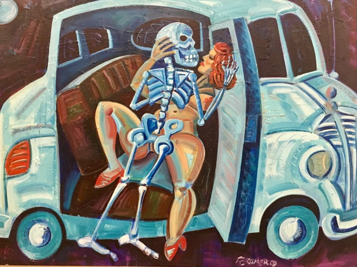 "Romero's reworking of artist Edward Kienholz's installation, ""Back Seat Dodge '38."""