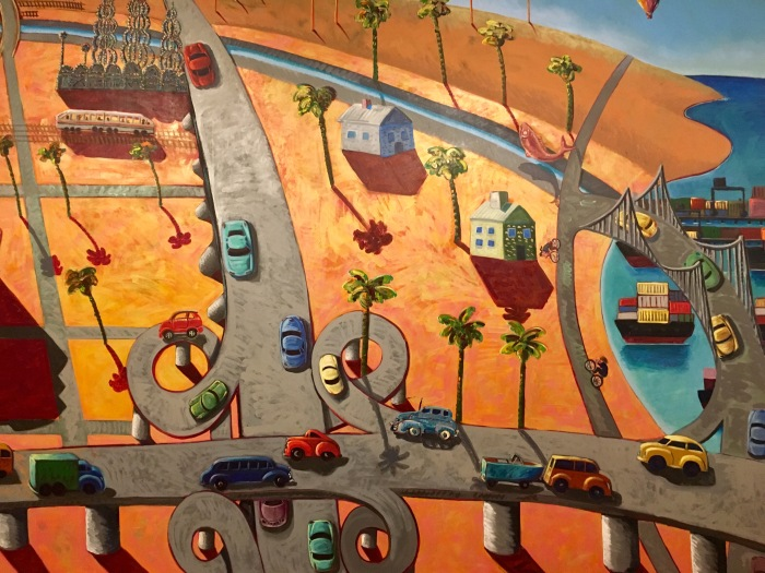 A more recent depiction of Los Angeles shows how Romero's style is changing. These days, he even paints in France.