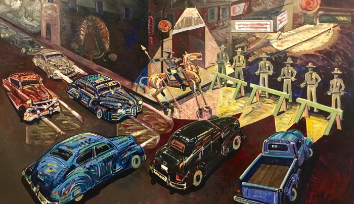 """Death of Rubén Salazar,"" 1986, depicts the night the Los Angeles Times' first Chicano journalist was killed."