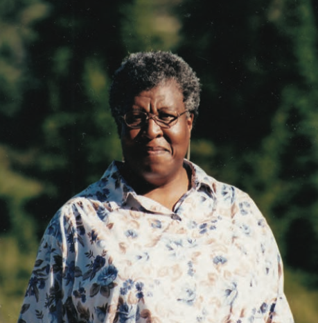 Photo of Science Fiction novel writer Octavia E. Butler near Mt. Shuksan, in Washington state, 2001. Photographer unknown.