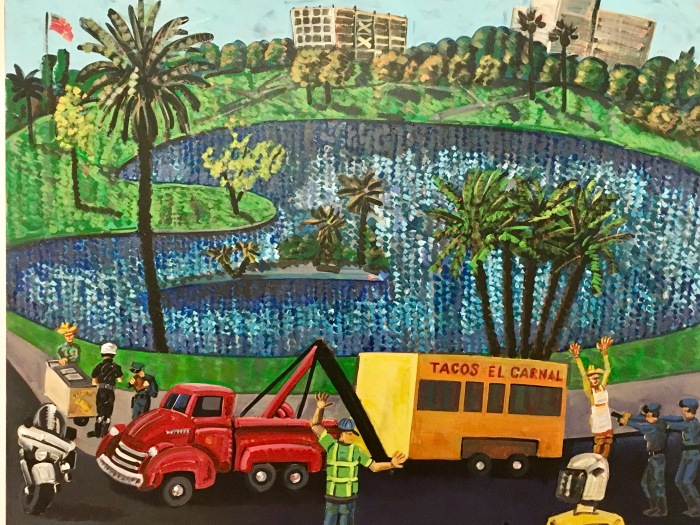 Los Angeles beauty and grit are common themes in Romero's paintings.