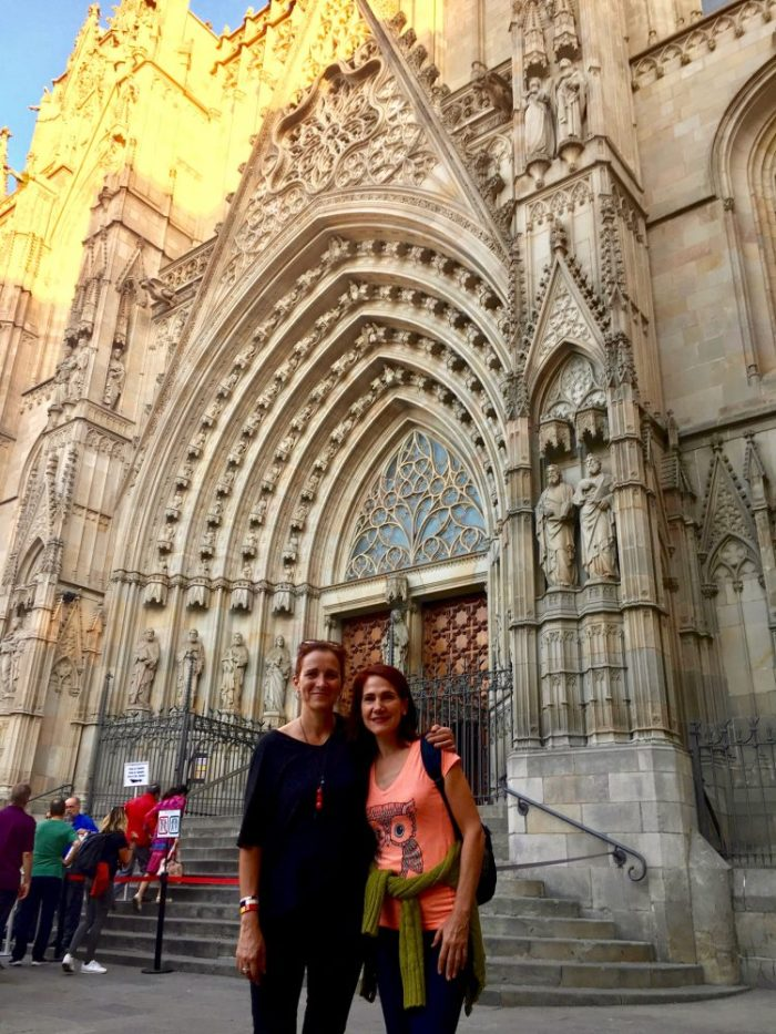 da-AL with cousin at Barcelona Cathedral