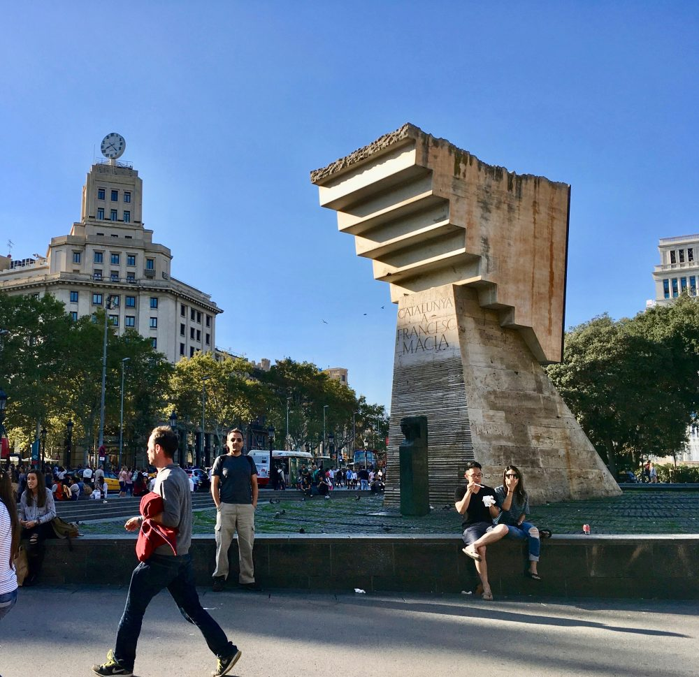 The Plaça de Catalunya (Catalonia Square) was the first of the gorgeous sites we enjoyed over the next few days. Barcelona is part of the larger community of Catalonia. At the square, an unfinished upside-down staircase towers over Catalunya's first president, Francesc Maciá, representing Catalonia's ongoing history. The monument was designed by artist Josep Maria Surbirachs.