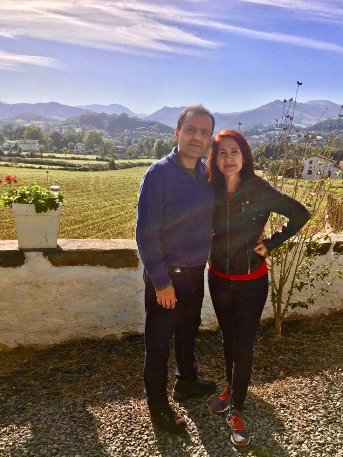 my husband and I amid French farmland