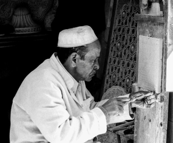 Stone engraver, Fes, Morocco, Africa