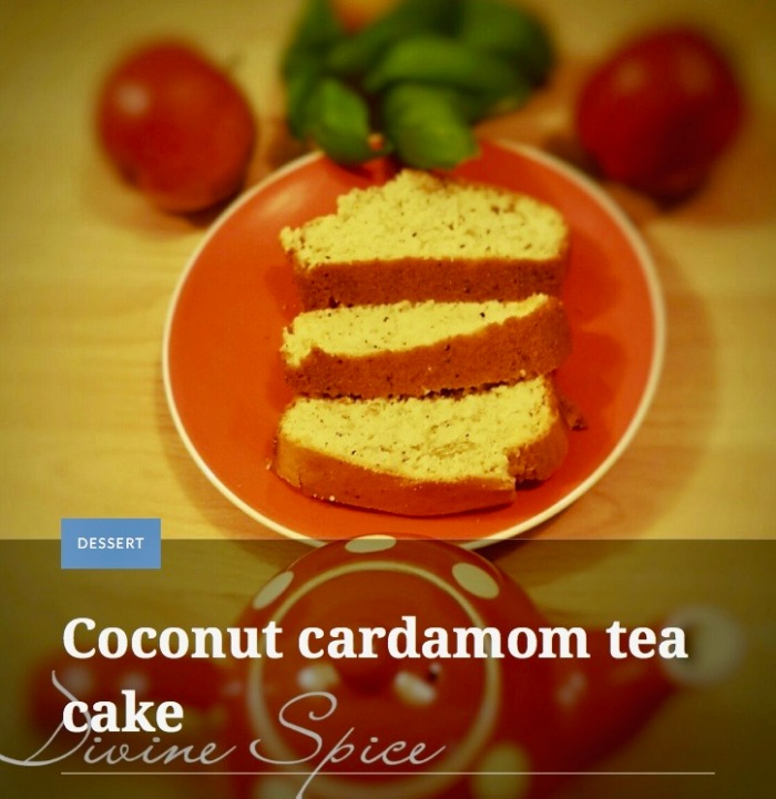 Coconut cardamon tea cake by Devine Spice