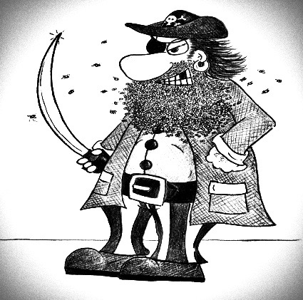 Here's Captain Bee Beard - a pirate who has a beard made out of bees! (From Mr. Wolf's children's book: Terry The Time Travelling Tortoise.)