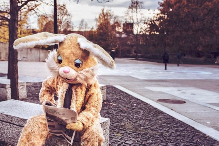 Rabbit costumed person sitting on a bench, reading newspaper