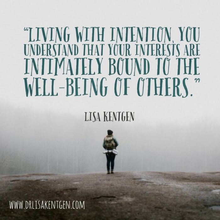 Quote by Lisa Kentgen: Living with intention you understand that your interests are intimately bound to the well-being of others.