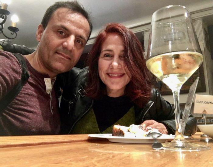 Ricotta cheese cake pinxto pairs well with white wine!