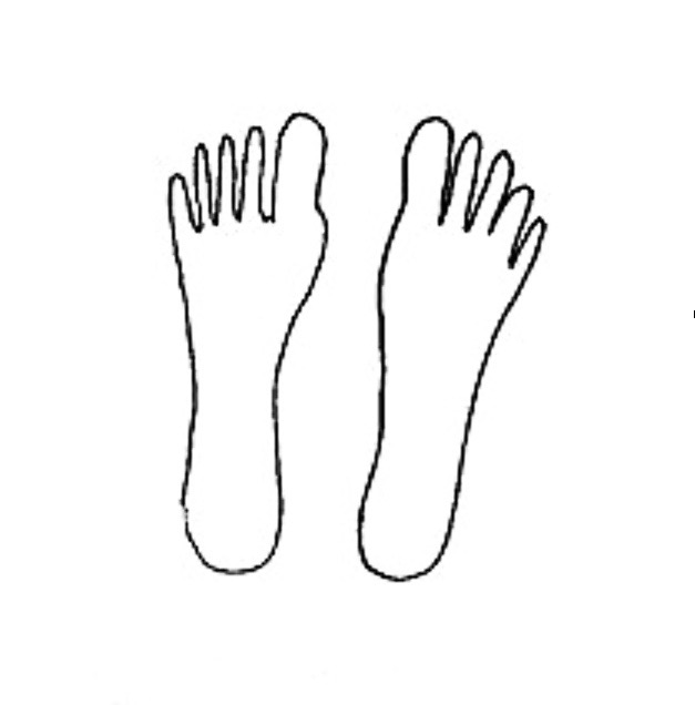 outline drawing of Dan's feet