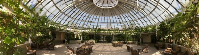 Panorama of a building at The Huntington
