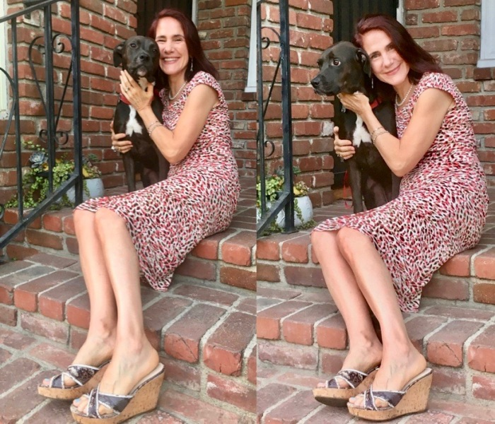 2 full body photos of da-AL with her labrador pit bull mix dog on brick porch steps