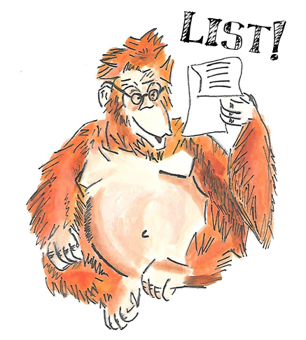 Drawing of an orangutan reading a list