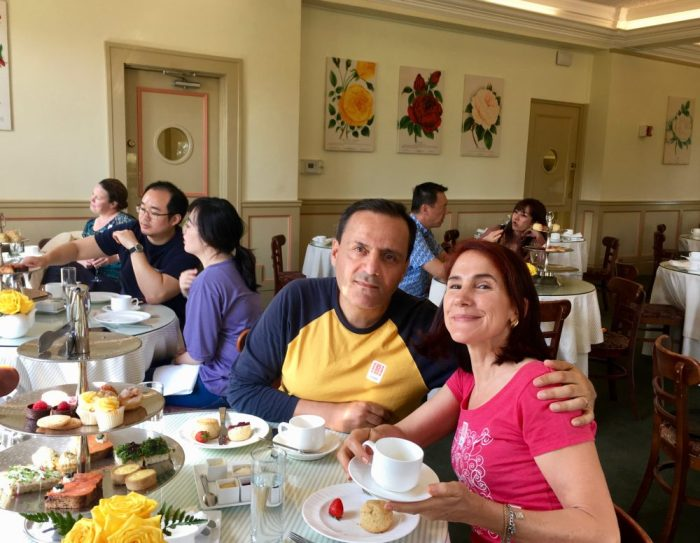 da-AL and her honey having high tea at The Huntington