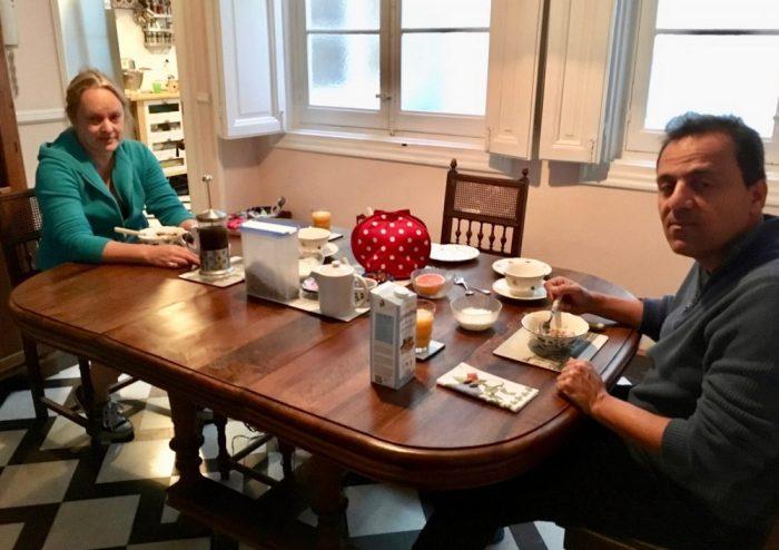 Breakfast with hostess Henrietta Fielden and da-AL's husband.
