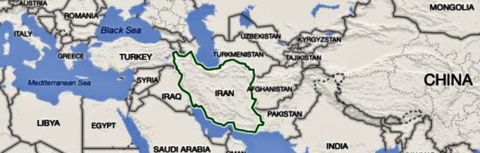 Map of Iran out lined in shape of a Sitting Cat.