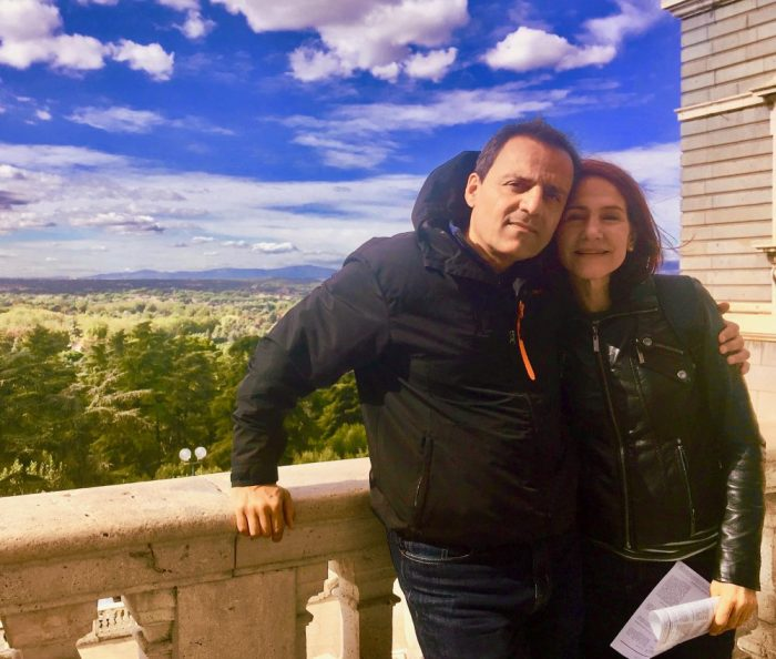 da-AL and her husband on the balcony of the Royal Palace of Madrid.