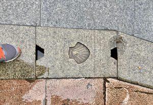 Seashells mark the religious pilgrimage route El Camino de Santiago.