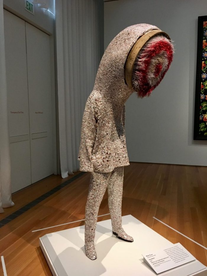 A 2012 version of sculptor/dancer/performance artist Nick Cave's Soundsuits -- they disguise and protect wearers from bigotry, violence, hate...