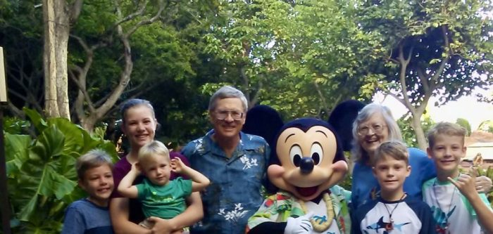 Author/blogger Mike Befeler with his family -- and Mickey!