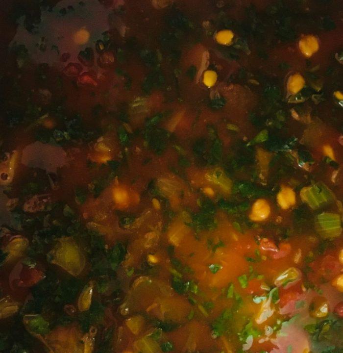 Get in close to smell Khashayar's bubbling tomato-bean-potato stew.