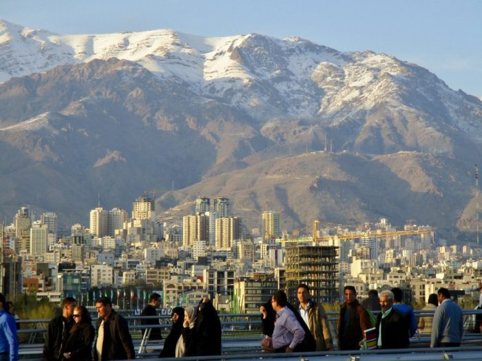 Tehran's spring-time snowy mountains.