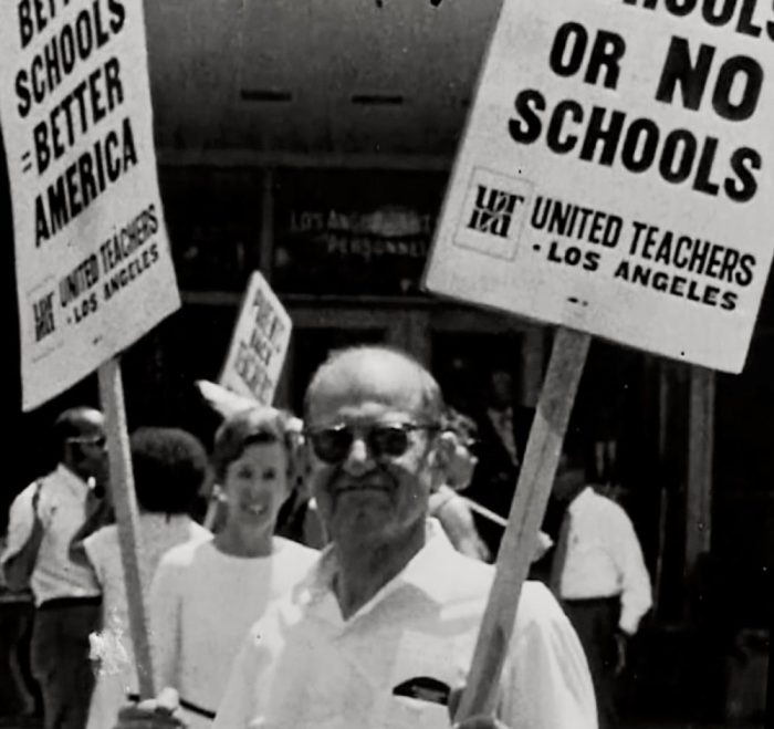 Back home, Sam Sachs taught teenagers and worked to improve California schools.
