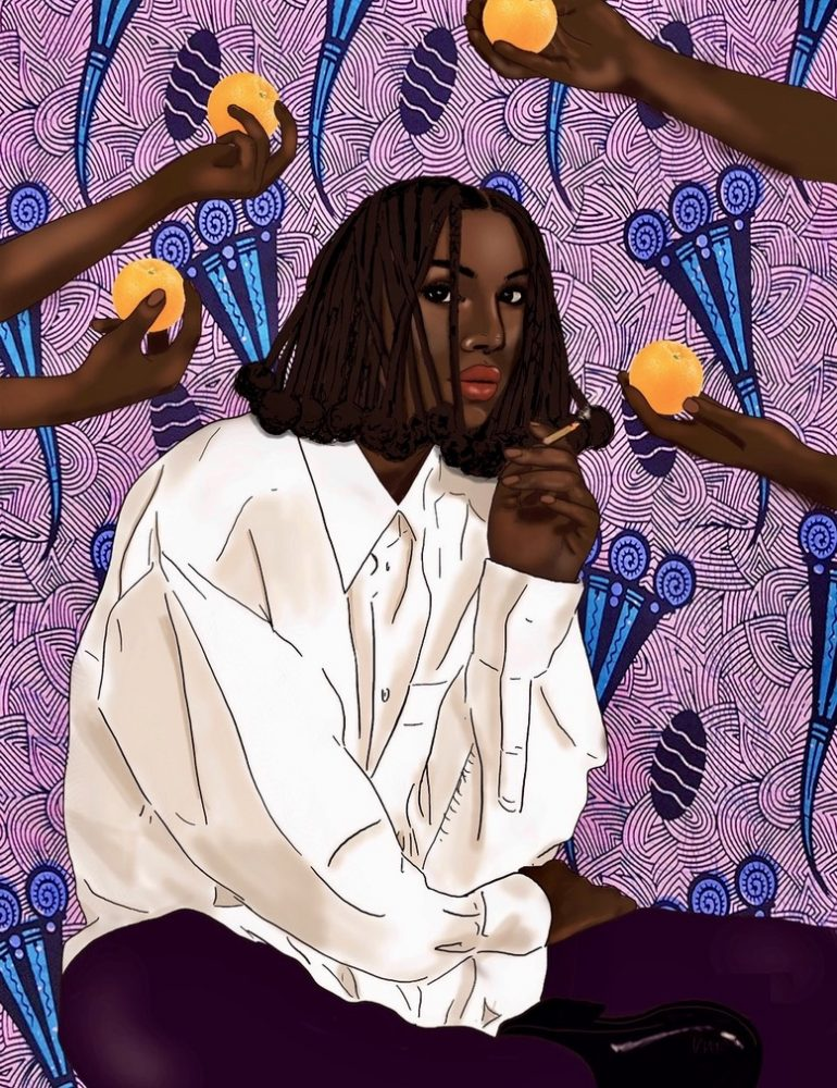"""When Life Gives You Oranges"" by Uzo Njoku: ""I created this when dancing the idea of me being an orange farmer if I was not an artist."""