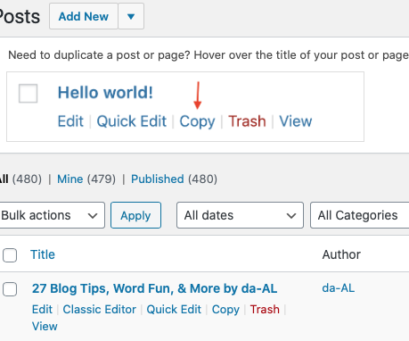 See how on the bottom left is the option to use Classic Editor? Using a desktop computer, just hover your mouse under your blog post title on your admin page.