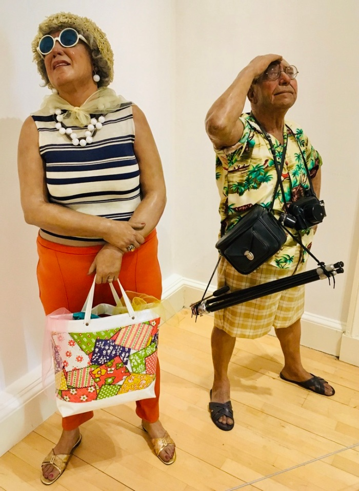 Tourists 1970, by Duane Hanson 1925-1996, constructed of polyester resin, fiberglass, and mixed media.