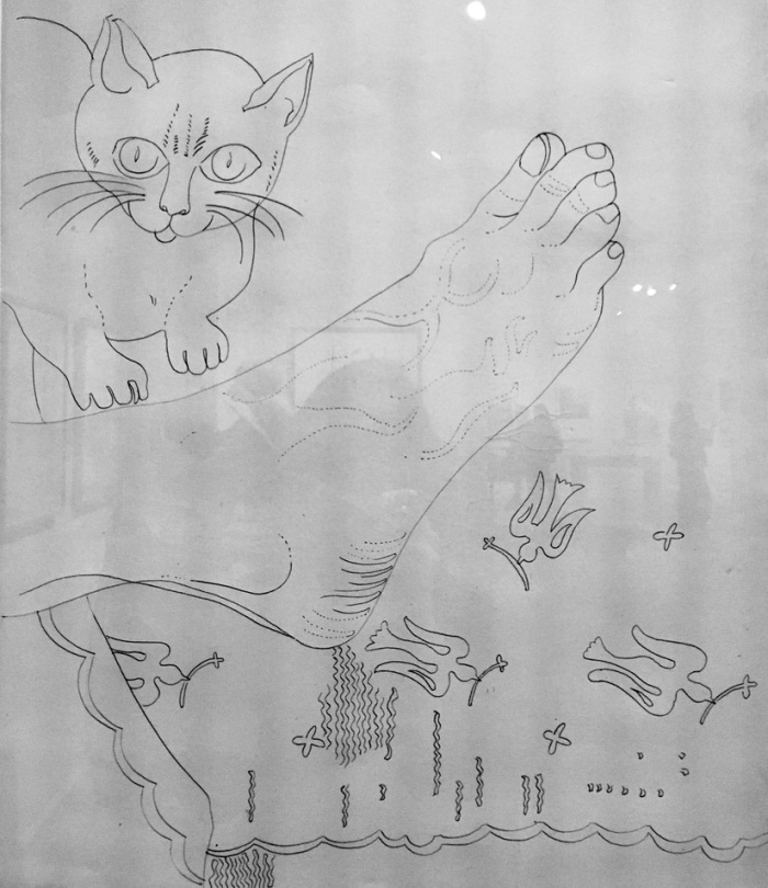 Foot with Cat, 1955-57, by Andy Warhol (1928-1987) Ink on paper. A page from one of many books Andy made, some for himself, some to showcase his talent to clients.