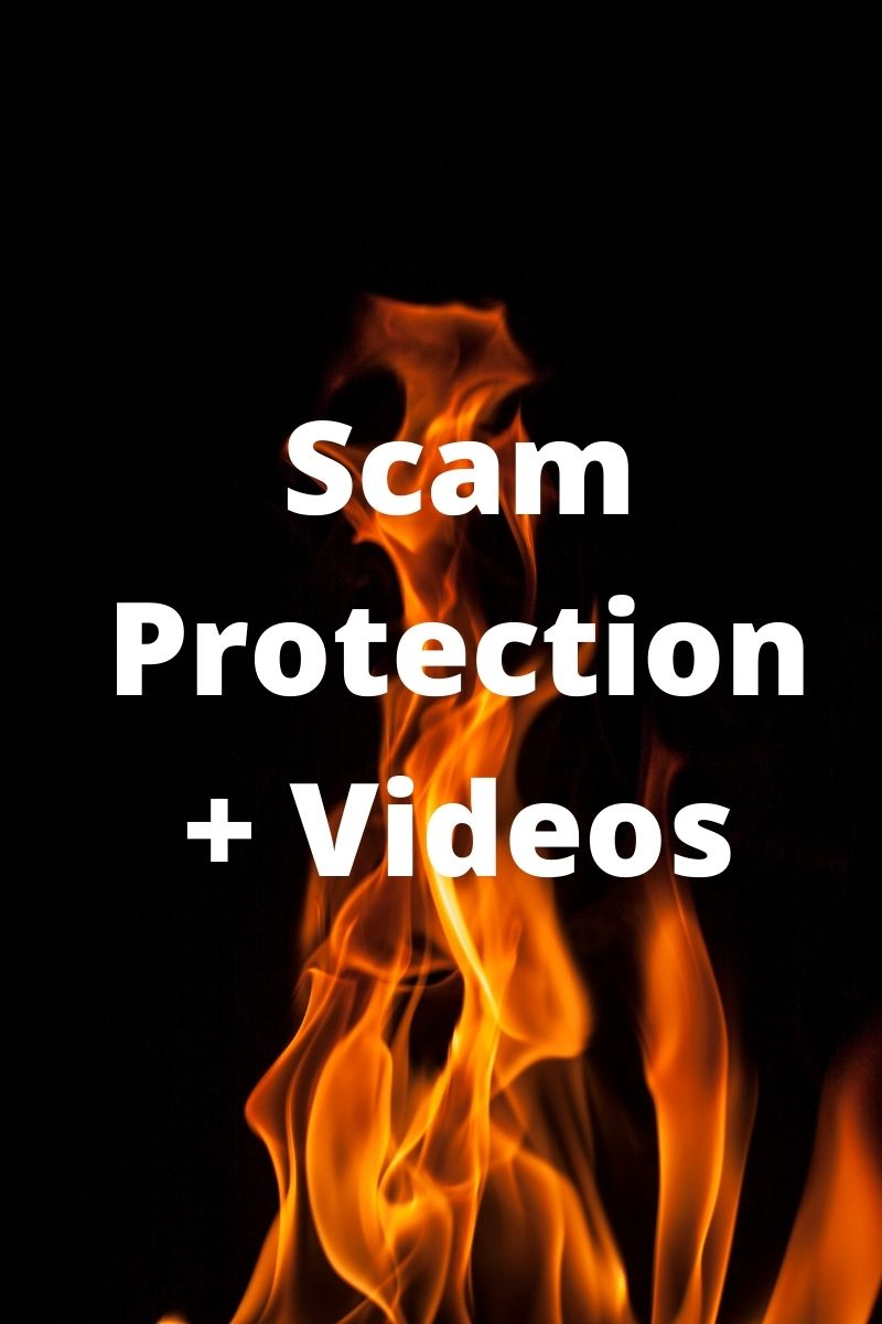 """Graphic of flames under """"Scam Protection and Videos"""""""