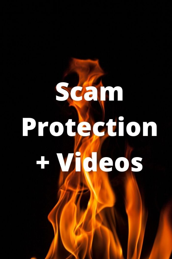 "Graphic of flames under ""Scam Protection and Videos"""