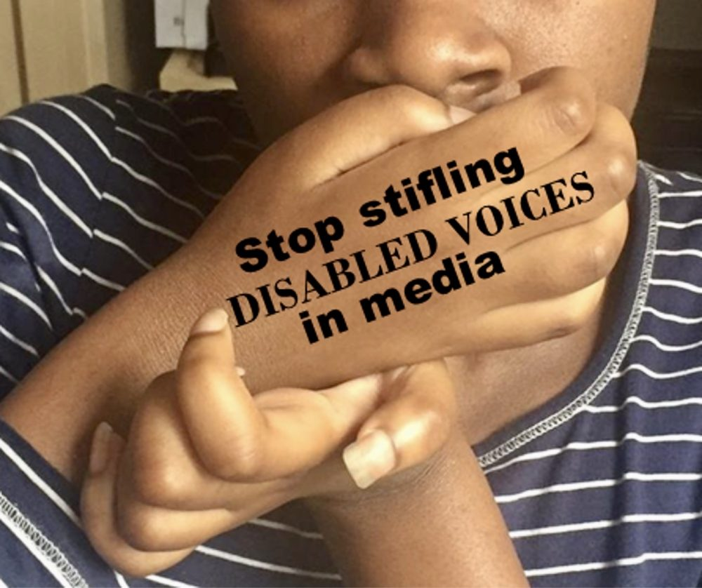 """Photo of The Wheelchair Teen with her hand over her mouth and the words: """"Stop stifling disabled voices in media"""" on them."""