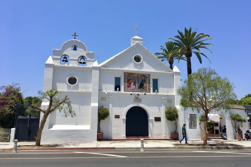 The picturesque old church across from Olvera Street. Photo by da-AL.