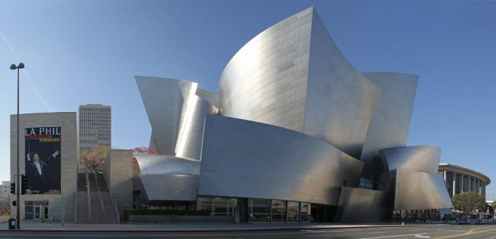 Photo of Walt Disney Concert Hall By jjron - Own work; stitched panorama from seven original images, GFDL 1.2, https://commons.wikimedia.org/w/index.php?curid=19436299