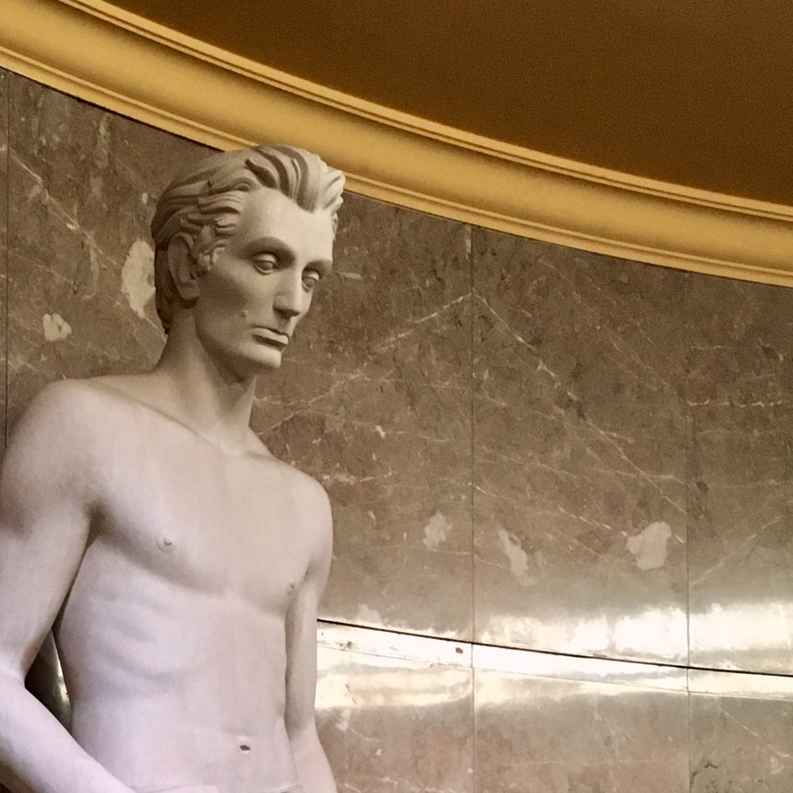 """Sculpture of """"Young Lincoln"""" by James Hansen, 1939, located at Los Angeles Spring Street Courthouse."""