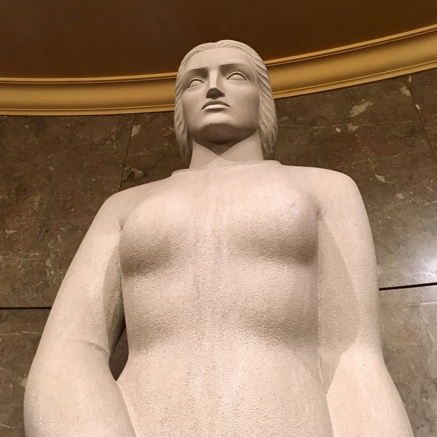 """Sculpture of """"Law"""" by Archibald Garner, 1939, located at Los Angeles Spring Street Courthouse."""