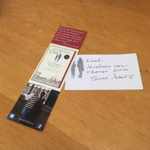 """Autographed bookmark and bookplate that """"An Invisible Thread"""" author Laura Schoff snail-mailed me!"""